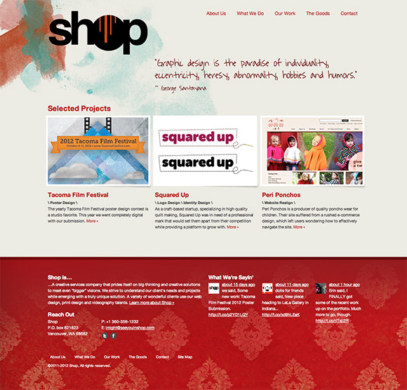 shop's old homepage